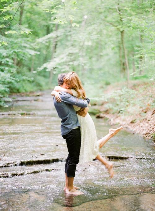 adorable creekside engagement photo