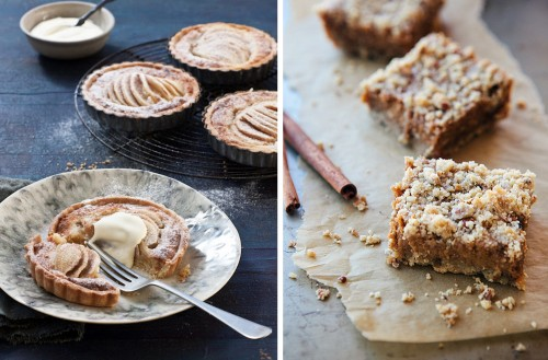 pear/cinnamon frangipagne tartlets and pumpkin pie bars